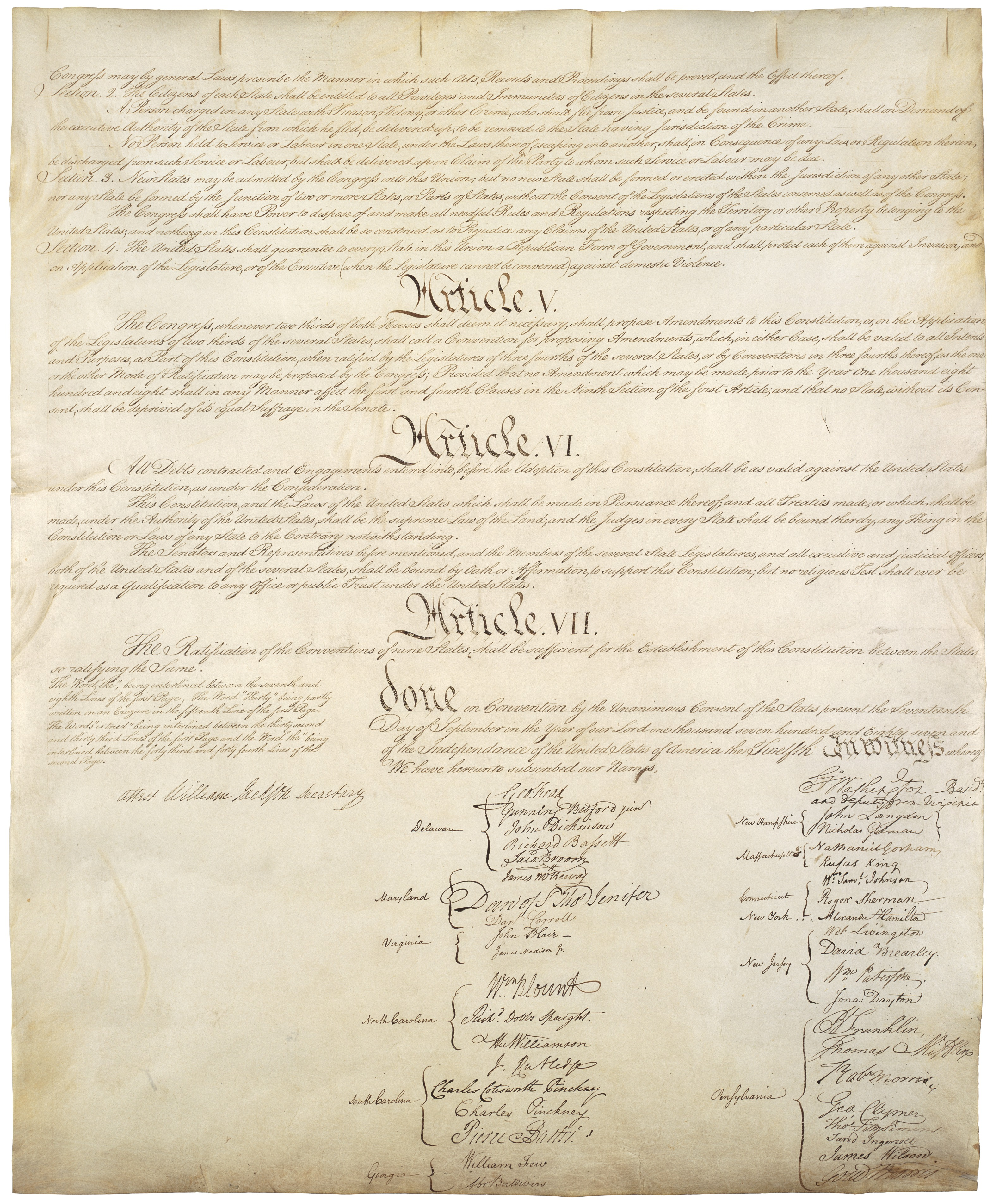 the united states constitution of 1787 On september 17, 1787, the constitution of the united states of america was signed by 38 of the 41 delegates present at the conclusion of the convention.
